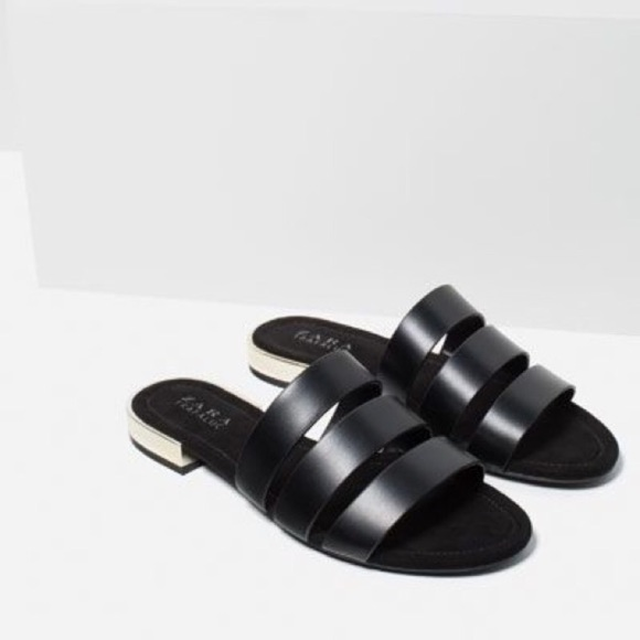 c9b2302f15c6 Zara black flat slide sandals with metal heel